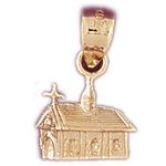 14k gold church house charm