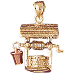 14k two tone 3d water well charm