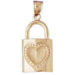 14k gold padlock pendant with stamped heart