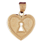 14k gold lock heart pendant