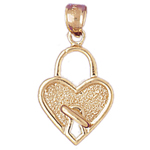 14k gold heart lock with key charm