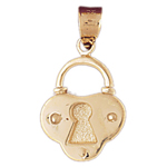 14k solid gold lock charm