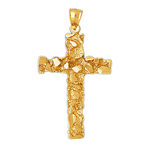 14k gold cross nugget pendant