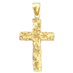 14k gold nugget cross charm pendant