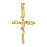 14kt gold nugget cross pendant