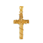 14k gold woodgrain cross with rope pendant