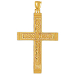 14k gold classic nugget cross pendant