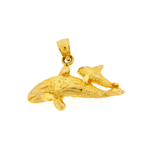 14k gold whale and calf pendant