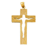 14k gold cross with open jesus body pendant