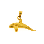 14k gold 30mm whale pendant