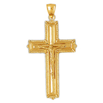 14k gold 48mm crucifix pendant