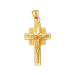 14k gold sunburst crucifix pendant