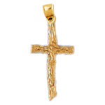 14k gold woodgrain crucifix pendant