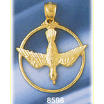 14k gold encircled holy spirit dove medallion