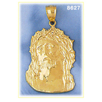 14k gold crown of thorns jesus head pendant