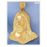 14k gold jesus christ face pendant