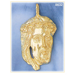 14k gold jesus christ head pendant