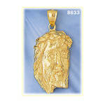 14k gold jesus of nazareth head pendant