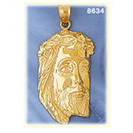 14k gold jesus head with crown of thorns pendant