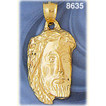 14k gold 28mm jesus christ head pendant
