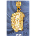 14 kt gold jesus christ head pendant
