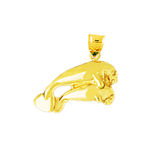 14k gold manatee and calf charm