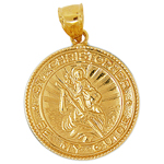 14k gold saint christopher be my guide medallion