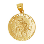 14k gold saint christopher protect us medallion
