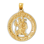 14kt gold protect us saint christopher pendant