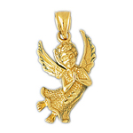 14k gold flying angel praying pendant