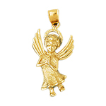 14k gold haloed angel pendant