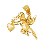 14k gold cherub angel with cross and heart charm