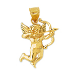14k gold cupid angel pendant