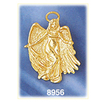 14 kt gold guardian angel pendant