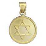 14k gold star of david circled charm pendant