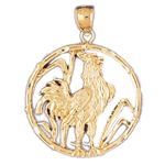 14k gold rooster chinese zodiac pendant