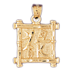 14kt gold rich chinese symbol charm