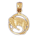 14k gold aries zodiac circle charm