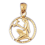 14k gold virgo zodiac circle charm
