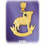 14k gold aries pendant
