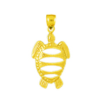 14k gold cut-out sea turtle charm
