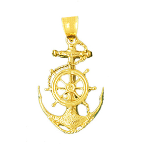 14K Gold Sailor Rope Ship Wheel and Anchor Pendant