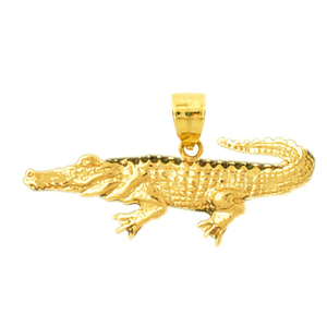 14k yellow gold aquatic crocodile pendant