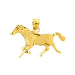 14k gold 26mm horse pendant