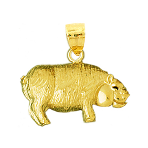 14k yellow gold bristly pig charm