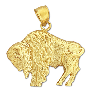 14k yellow gold american bison charm