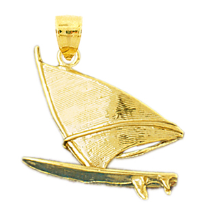 14k gold 3d wind surfing pendant