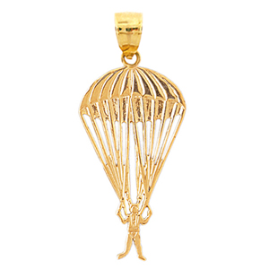 14k gold parachuting pendant