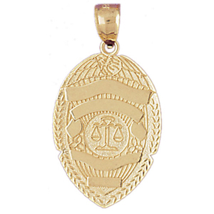 14k gold justice department badge pendant
