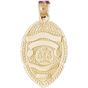 14kt gold justice department badge pendant